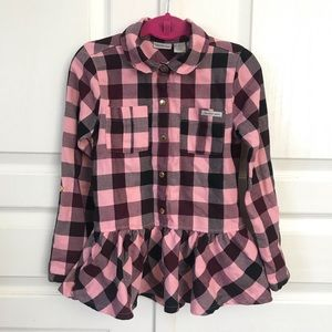 Calvin Klein Pink/Maroon Plaid Shirt Girls Sz 6x